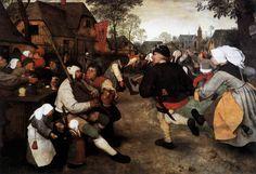 BRUEGEL, Pieter the Elder  (b. ca. 1525, Brogel, d. 1569, Bruxelles)    The Peasant Dance  c. 1567  Oil on oak panel, 114 x 164 cm  Kunsthistorisches Museum, Vienna