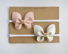 faux leather butterfly bow set, baby headband set, baby headband, small bows, baby bows, newborn headbands, nylon headbands, baby shower gift, baby hair bows, baby gift ideas, girl baby