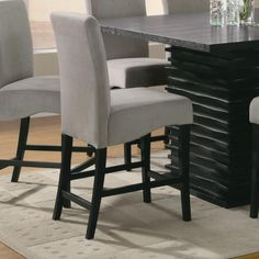 Gray Counter Height Stool Chair w/ Black legs by Coaster - Set of 2  http://www.ubuyfurniture.com/counter-chair-coaster-102069gry.html