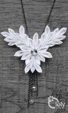 White fabric necklace with rhinestone kanzashi by OlelyDesign