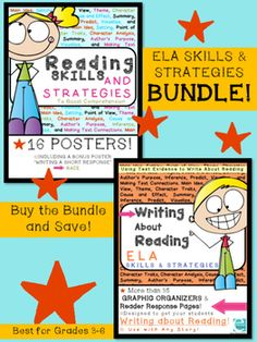 Writing About Reading BUNDLE! Meaningful activities to use with any fiction story you choose! Encourages students to use text evidence to complete graphic organizers and short responses. These student friendly, common core aligned activities are accompanied by POSTERS which are perfect for your focus wall!