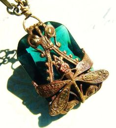 Emerald Dragonfly Necklace-Large Ornate Victorian Style Art Nouveau Pendant Reversable Two Pendants In One