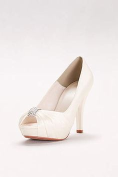 6bbc3d18f19 View Charmeuse Pleated Peep Toe with Crystal Ornament Diana Bridal