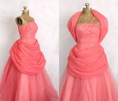 1950s Pink coral tulle and sequin gown.