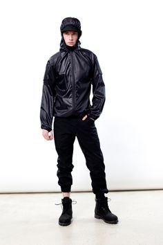 BBC-black FA 13... the collection fuses Crye Precision military performance fabrics into some killer streetwear  Extremely light packable jacket wind/ weather resistance in featherweight package. WindLiner folds into its own single mesh-lined cargo pocket.  classic Higgins pant in Black ripstop fabric.   Higgins pants, Rib knit cuffs at ankles Pockets on the back: single flap & single welt