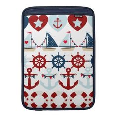 Summer Nautical Theme Anchors Sail Boats Helms Sleeve For MacBook Air