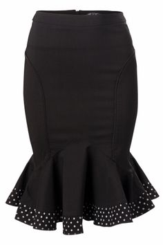 The Marlene black skirt with polka dot frill & bow from Bunny. Playfull pencil skirt ending in a polka dot frill.Made from a stretch firm fabric for a pefect fit. At the front 2 satin black pipings and a zip at the back finished off with a cute bow.