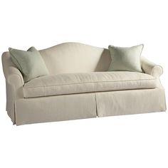 Lillian August Custom Upholstery Hyde Park Skirted Camel Back Sofa