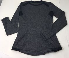 Lululemon Base Runner LS Size 6 Mini Check Pique Black Gray  EUC Pullover   | eBay