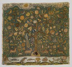 The Tree of Life, first half of 17th century  English  Canvas worked with silk thread; tent, Gobelin, and couching stitches