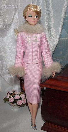 Silkstone Barbie doll in Arina's fashion creations.
