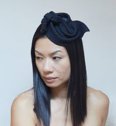 Black Felt Fascinator by CHUCHU NY