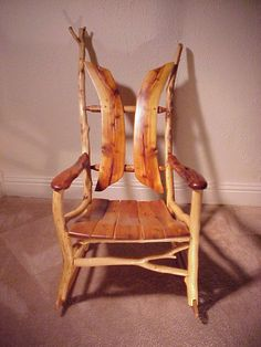 Wondering If Any Specific Tree/wood Is Best To Use? :: Natural Tree  Furniture Stick And Twig Rustic Cabin Rocking Chair::