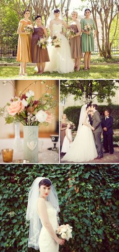 stylemepretty Austin, TX wedding. (love the pastel bridesmaid pallet)