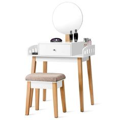 Shop for Costway Wooden Vanity Makeup Dressing Table Stool Round 1 Drawer. Get free delivery On EVERYTHING* Overstock - Your Online Furniture Store! Wooden Makeup Vanity, Makeup Vanity With Drawers, Makeup Dresser, Dresser Vanity, Vanity Bathroom, Bathroom Ideas, Makeup Dressing Table, Dressing Table With Stool, Dressing Mirror