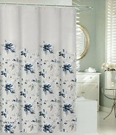 Max Studio Cotton Shower Curtain Botanical Nature Floral Branches Design Blossom Navy Blue Grey Turquoise