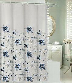 Tahari Luxury Cotton Blend Shower Curtain Blue Navy Beige