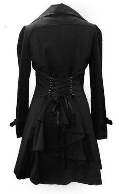 (Cotton Riding Jacket) Klassischer Schwarz Baumwolle Gotische Reiten Mantel. In Gr. 38