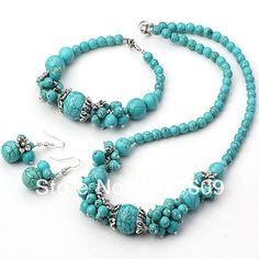 Free shipping blue turquoise and Tibet silver charm jewelry set $31.67