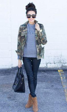 gray sweatshirt army jacket combo