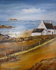 Maison au bord de l'eau - Peinture,  38x46 cm ©2014 par André Kermorvant -                            Peinture contemporaine, Marine, paysage Breton, maison au bord de l'eau