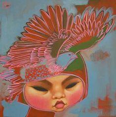 Paintings by Poh Ling Yeow, a Malaysian-born Australian artist, actress and runner-up in MasterChef Australia. Painting Of Girl, Painting & Drawing, Art Cart, Beautiful Fish, Beautiful Women, Pop Surrealism, Australian Artists, Goldfish, Asian Art