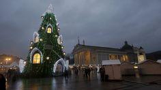 Varias personas reunidas cerca del árbol de Navidad en la plaza de la Catedral de Vilnius, Lituania