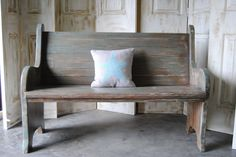 ideas for my church pew...LOVE the stain and turquoise wash combo!! Perfect for turquoise, white and patina theme!