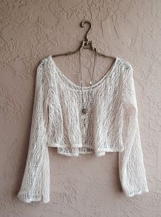 Gypsy Hippie Bohemian Bell Sleeves  crochet open weave crop sweater for summer nights reserved for Yoshie