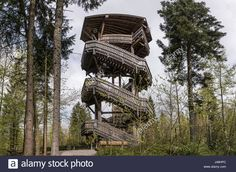 Stock Photo - Viewing wooden tower for animal watching, Bavaria, Germany. Terrace for watching animals in the woods. Wooden bridge with a roof in the forest Lakeside Park, Bavaria Germany, Towers, Platforms, Terrace, Woods, Vectors, Bridge, Castle