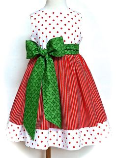 Girls Christmas Dress, Toddler Christmas Dress, Red with Big White ...