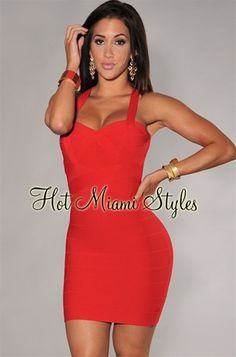 Red Banded Strap Accent Silky Bandage Dress
