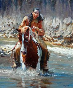 John Fawcett paints ~TZn (Indian Brave Gives His Pony His Head Allowing Him to Cross the Stream on His Own).