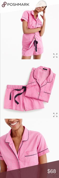 J. Crew pajama set in pink foulard, NWT New with tags- original packaging.   Size: XS  Color: vivid fuchsia (bright pink as seen in photos) J. Crew Intimates & Sleepwear Pajamas