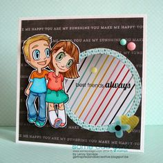 Best friends always ... Best friends Tia & Tobie (Some Odd Girl digi stamp)/ sentiment from (Puppy Love Mae- clear stamp)