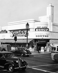 Sontag Drug Store, Wilshire Blvd. and Cloverdale Ave, c.1941, Los Angeles,  California, photography.