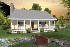 House Plan Relaxation awaits you in this 953 sq. home which is perfect for a vacation or starter home. Covered front and rear porches feature ceiling fans to ke…