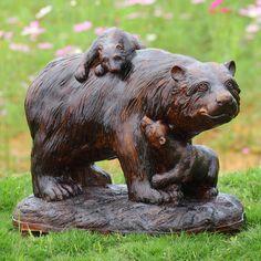 Bear and Cubs Playtime Garden Sculpture