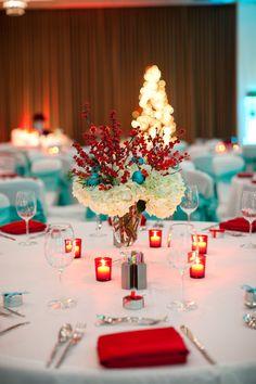 Red and aqua table...hmmm maybe for a christmas season wedding?!