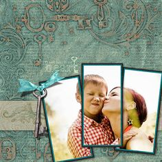 "Awesome ""Lock And Key"" Quick Drop Digital Layout...Clubscrap.  You could also use this design as a page you make yourself from scrapbooking papers and embellishments."