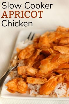 Slow Cooker Apricot Chicken is so moist that it melts in your mouth. Throw 4 simple ingredients into the slow cooker and check on in at dinner time. It's so easy and a fail proof recipe. Crock Pot Slow Cooker, Slow Cooker Recipes, Crockpot Recipes, Chicken Recipes, Chicken Ideas, Apricot Chicken Slow Cooker, Chef Recipes, Easy Recipes