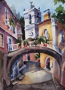 "Bell Tower -Sintra by Jinnie May Watercolor ~ 30"" x 22"""