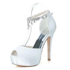 4530ebc72eca Women s Satin Stiletto Heel Peep Toe Platform Pumps Sandals With Buckle  Imitation Pearl Shoes Buy Women s Dress at IZIDRESSBUY.
