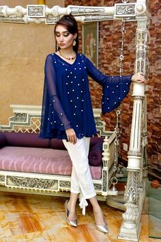 Beautiful Pakistani Eid Dresses Misha Couture Collection 2020 contains amazing designs of chiffon tops,hand embroidered shirts, Pakistani Dress Design, Pakistani Outfits, Indian Outfits, Kurta Designs, Blouse Designs, Eid Dresses, Party Wear Dresses, Frock Fashion, Fashion Dresses