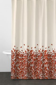 Cocoa Flower Red Fabric Shower Curtain