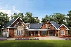 HOUSE PLAN 6082-00005 – This lovely Craftsman house design features an attractive exterior trimmed in organic materials. The interior floor plan houses approximately 3,060 square feet of living space highlighted with an open floor plan, three bedrooms and three plus baths.