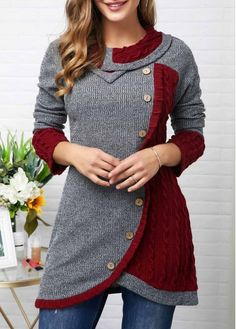 Inclined Button Tulip Hem Contrast Panel Sweatshirt Buy it Now :D Trendy Tops For Women, Trendy Fashion, Womens Fashion, Women's Fashion Dresses, Fashion Coat, Pull, Casual, Tunic Tops, Outfits