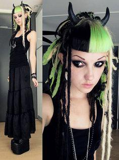 • punk dreads goth undercut demonia psychara platform boots synthetic dreads gothgoth psychara •