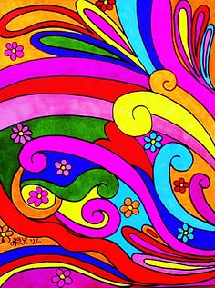 Psychedelic Swirls-Multi colored Sharpies on drawing paper. :)
