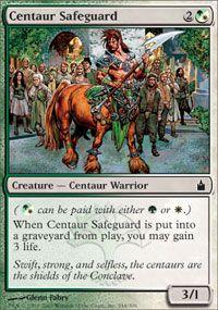 Centaur Safeguard - Ravnica - Modern Legal Sets - Magic: The Gathering Alternate Worlds, Magic The Gathering Cards, Magic Cards, Centaur, Mtg, Mint Green, Creatures, Life, Deck